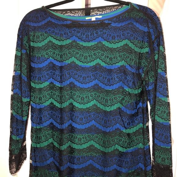 Gianni Bini Tops - Blue and green black lace top